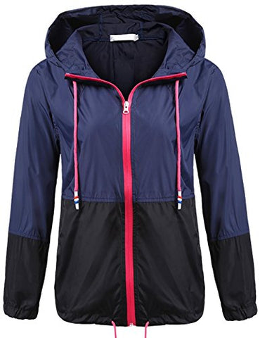 Soteer Women's Waterproof Raincoat Outdoor Hooded Rain Jacket Windbreaker (Navy XXL)
