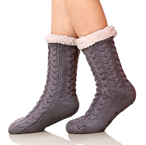 SDBING Women's Super Soft Warm Cozy Fuzzy Fleece-lined Winter Knee Highs Christmas gift Slipper socks (Dark Gray)