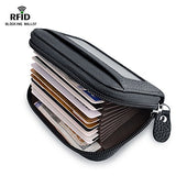 RFID Blocking Wallet for Women, Credit Card Holder for Travel and Work, for Business Cards, and Driver License, Genuine Leather Accordion Zipper Wallet for Credit Cards and Money KB-black