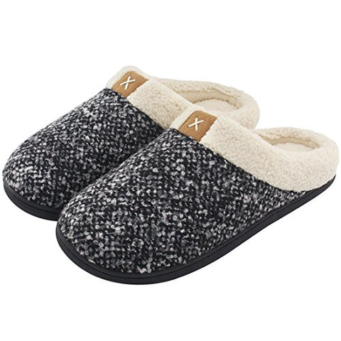 Men's Comfort Memory Foam Slippers Wool-Like Plush Fleece Lined House Shoes w/ Indoor, Outdoor Anti-Skid Rubber Sole L, 11-12 US Black