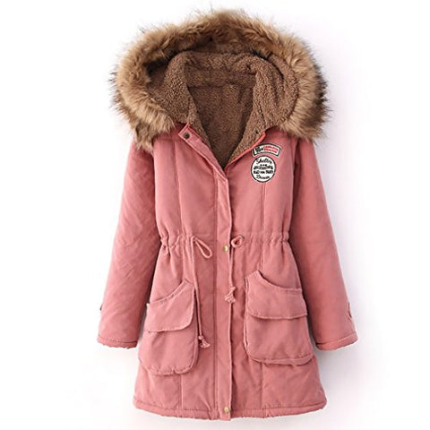 Jeeluory Women Warm Autumn Cotton Fleece Lined Parka Faux Fur Hooded Jacket Coat PINK XXXL