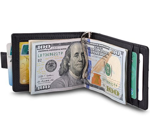 MaxGear Leather Wallet Slim RFID Credit Card Wallet for Men Front Pocket Wallet with money clip