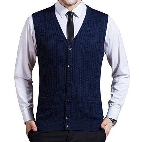 Zicac Men's Business Solid Button Knitwear Sweater Vest Sleeveless Knitted Waistcoat (L, Blue)