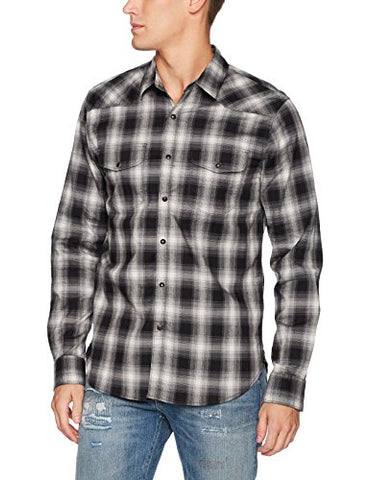 Lucky Brand Men's Santa Fe Western Shirt, Black Plaid, Large