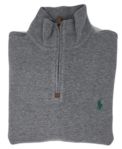 Polo Ralph Lauren Men's Half Zip French Rib Cotton Sweater (WinterGrey, XXL)