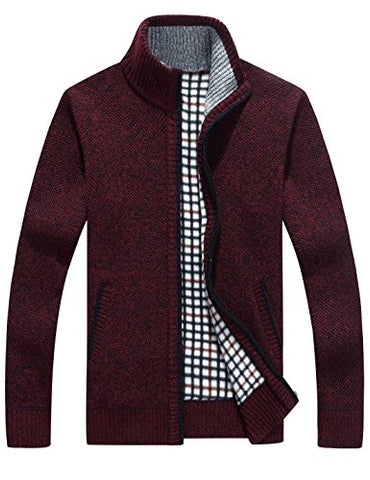 Yeokou Men's Slim Fit Zip Up Casual Knitted Cardigan Sweaters With Pockets (Large, Wine Red)