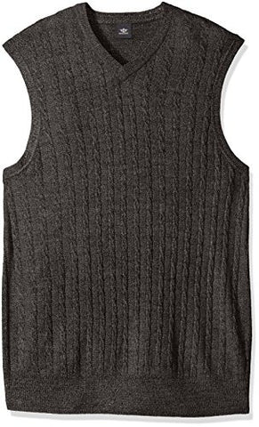 Dockers Men's Big and Tall Soft Acrylic Solid Cable Links Links-Vest, Storm Marl, Large Tall