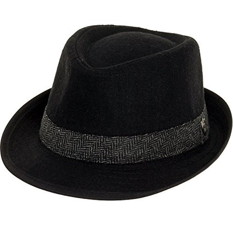 Dorfman Pacific Mens Wool Herringbone Band Classic Fedora Hat (Black, Large)