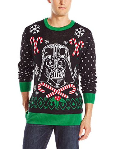 Star Wars Men's Vader Scarf Sweater, Black, Small