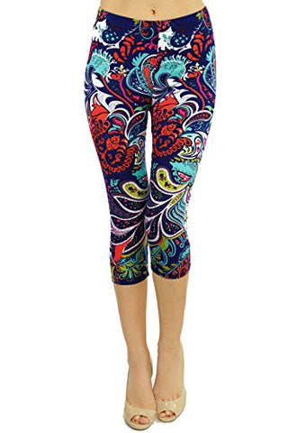 Regular Size Printed Brushed Capris (Chromatic Splash)