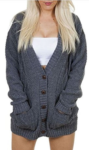 OgLuxe Women's Long Sleeve Cable Knit Cardigan (M/L ( UK 12-14 EU 40-42 US 8-10), Charcoal)