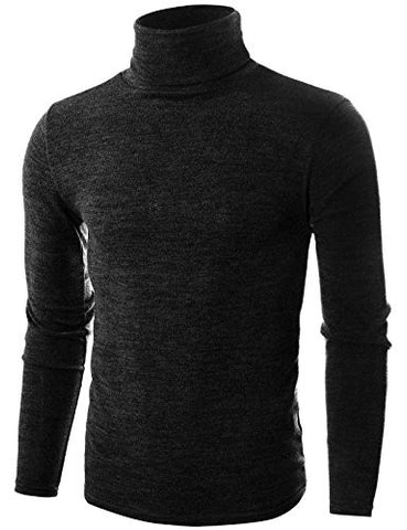Ohoo Mens Slim Fit Soft Cotton Blend Turtleneck Pullover Sweater/DCP006-BLACK-L