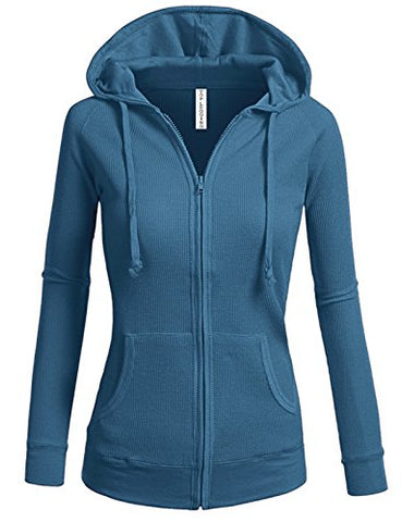 TL Women's Comfy Versatile Warm Knitted Casual Zip-Up Hoodie Jackets in Colors 02_BLUE_TEAL M
