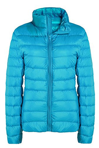 ZSHOW Women's Outwear Down Coat Lightweight Packable Powder Pillow Down Jackets, US X-Large, Acid Blue