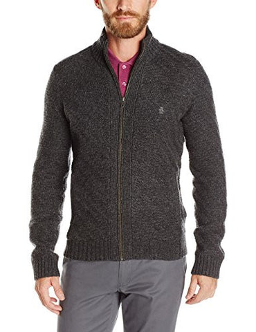 Original Penguin Men's Chunky Full Zip Sweater, True Black, Medium