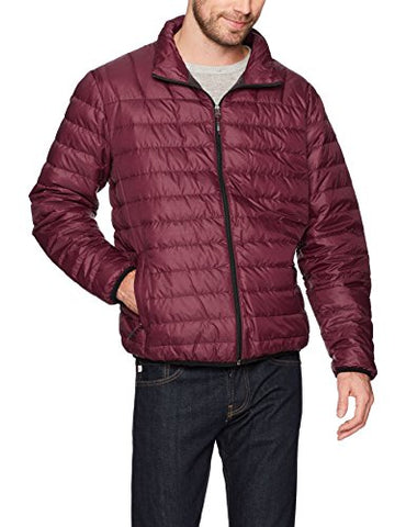 Hawke & Co Men's Poly Packable Puffer Jacket, Eggplant, Large