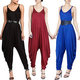 Women's Punk Spaghetti Strap Jumpsuit V Neckline Comfy Loose Harem One Piece Romper, Black, Small