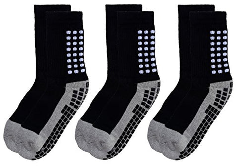 Deluxe Anti Slip Non Skid Slipper Hospital Socks with grips for Adults Men Women (Shoe Size : 6-9, 3 pairs-black grey)