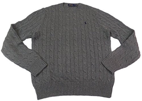 Polo Ralph Lauren Men's Crew-Neck Cotton Cable Sweater (M, Grey/Navy Pony)