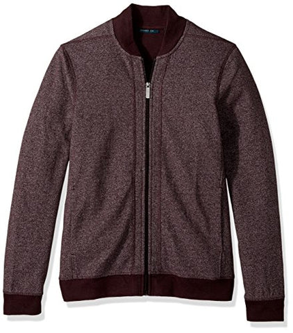 Perry Ellis Men's Texture Bomber Knit Jacket, Port, Small