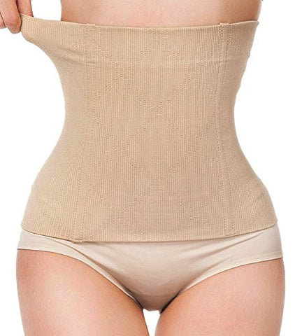 Womens No Closure Waist Corset Cincher Boned Tummy Control Waist Girdle Seamless (L (2-5 day delivery), Beige-83)