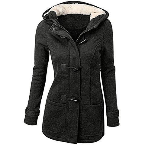 JJyee Women's Classic Winter Hooded Trench Jacket Warm Cotton Coat US Size 2XL/Tag Size 4XL(Black)