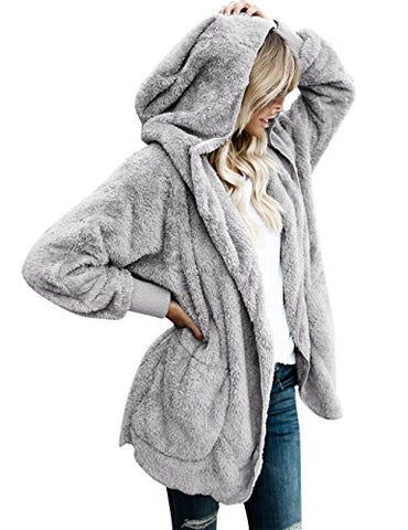 LookbookStore Women's Oversized Open Front Hooded Draped Pocket Cardigan Coat Size L (Fit US 12 - US 14)