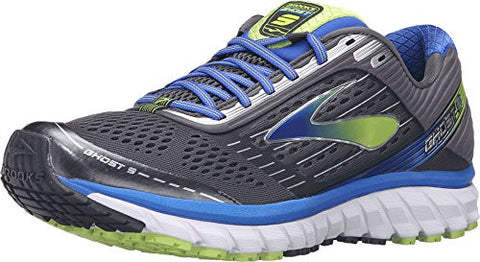 Brooks Men's Ghost 9 Anthracite/Electric Brooks Blue/Lime Punch Sneaker 11.5 D (M)
