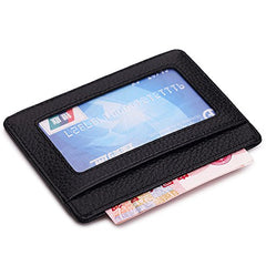 MEKU Slim Front Pocket Leather Wallet Business Credit Card Case Sleeve Minimalist Wallet with ID Window Black