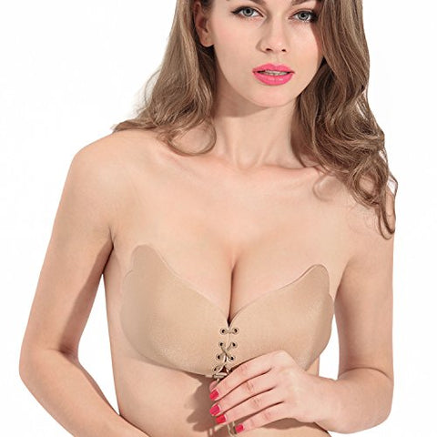 WEIJI Adhesive Bra, Invisible Strapless Push-up Bra With Drawstring for Women