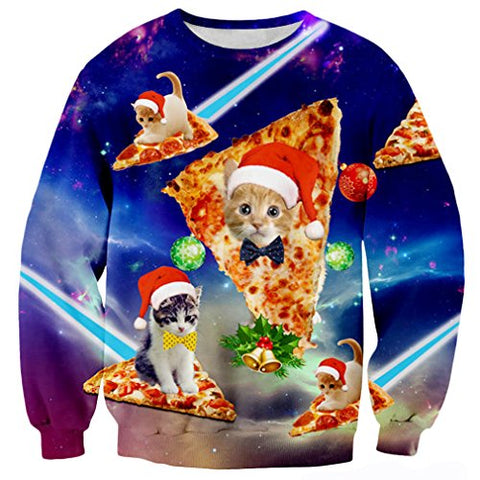 Raisevern Mens Galaxy Pizza Cat Santa Hat Ugly Christmas Crewneck Sweater Sweatshirt Jumper, Pizza Cat 1, Large