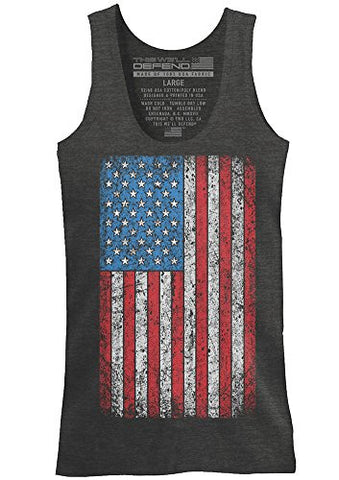 This We'll Defend - Vintage American Flag - Made of USA - Mens 52/48 Premium Tank Top T-Shirt, Charcoal Heather (LARGE)