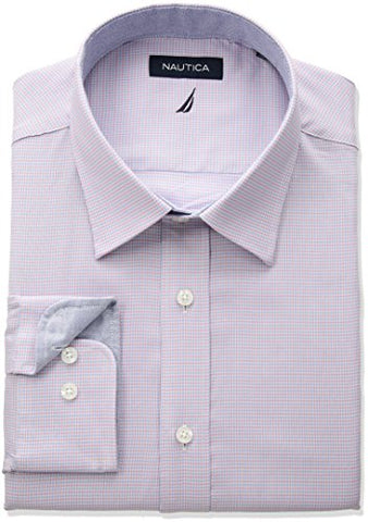 "Nautica Men's Classic Fit Performance Check Spread Collar Dress Shirt, Pink/Blue, 16"" Neck 32""-33"" Sleeve"