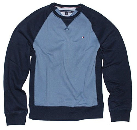 Tommy Hilfiger Men's Crew Neck Sweatshirt (Medium, Fleet Blue)