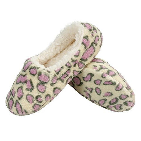 Zegee Womens Indoor Soft Slippers Non-slip Sole Cozy Warm Slip-on House Bedroom Fuzzy Slippers (L 9-10, Leopard)