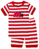 IF Pajamas Ladybug Big Girls Shorts Set Striped Pajamas 100% Cotton Clothes Kid 12 Years