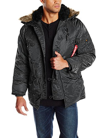 Alpha Industries Men's N-3B Parka,Black,Medium