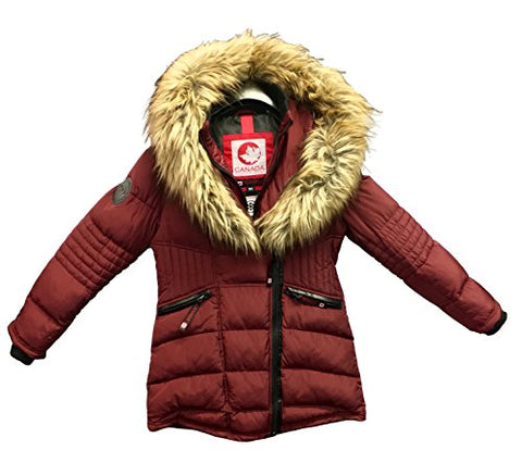 Canada Weather Gear Women's Two Layer Insulated Heavy Jacket with a Faux Fur Trim (Large, Wine/ Natural)