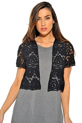 401148-Blk-XL Just Love Bolero Shrug / Women Cardigan,Black Paisley Crochet,X-Large,Black Paisley Crochet,X-Large