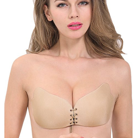 Win Bra Strapless Self Adhesive Invisible Push-up Women Bras,For Backless Dress,Tube Dress,Wedding Dress,Reusable,Washable (D cup, Nude)