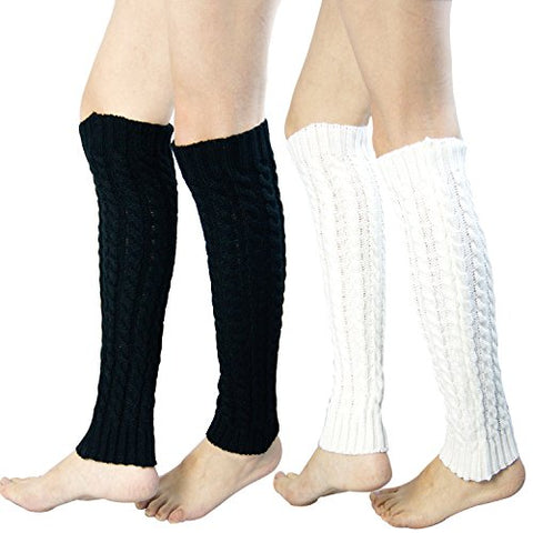 2 Pack of Womens Cable Knit Knee High Knitted Crochet Leg Warmers Long Socks White/Black,One Size