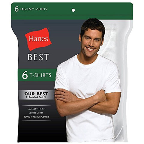 "Hanes Best 6-Pack Crew T-Shirt BLACK/GREY MED 38""-40"""