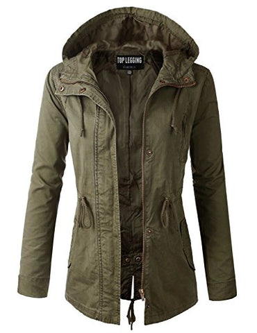 TL Women's Militray Anorak Parka Hoodie jackets with Drawstring OLIVE LARGE