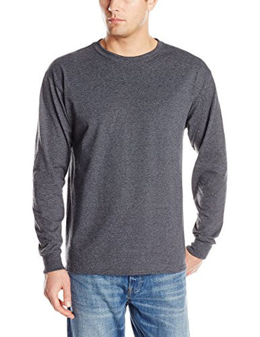 Jerzees Men's Adult Long Sleeve Tee, Black Heather, Medium