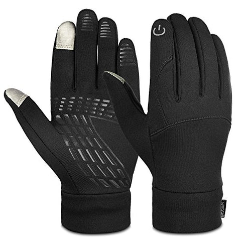Vbiger Unisex Winter Warm Gloves Touch Screen Gloves Outdoors Sport Gloves Running Cycling Gloves for Men Women (L, Black)