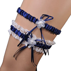 MeryaDress Lace Wedding Garter 2-piece Set Pearl Adjust Garter with Toss Away Navy