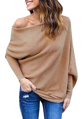 Imily Bela Women's Knitted One Shoulder Loose Pullovers Sweater (Medium, Khaki)