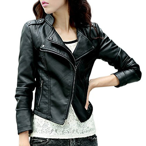 Artfasion Women's Slim Tailoring Faux Leather PU Short Jacket Coat (L, black1)