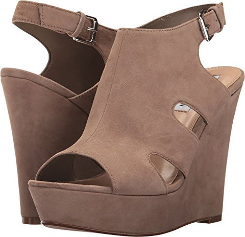 Steve Madden Women's Emmy Wedge Sandal, Taupe Suede, 7.5 M US