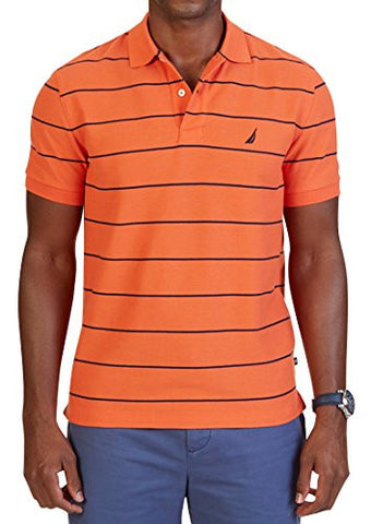 Nautica Men's Short Sleeve Stripe Deck Polo Shirt, Tiger Lily, Large
